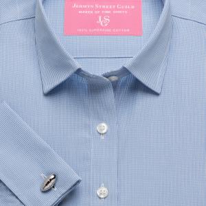 Sky Micro Check Poplin Women's Shirt Available in Six Styles