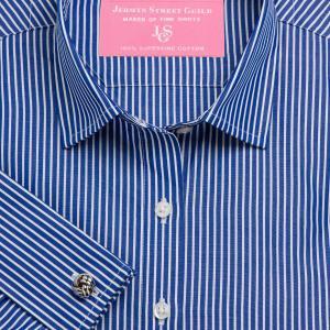 Navy Mayfair Stripe Poplin Women's Shirt Available in Six Styles