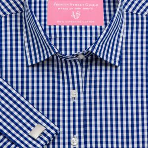 Navy Bold Check Poplin Women's Shirt Available in Six Styles