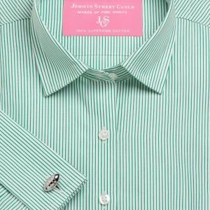 Green Edinburgh Stripe Poplin Women's Shirt Available in Six Styles