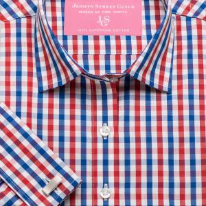 Red & Navy Buckingham Check Poplin Women's Shirt Available in Six Styles