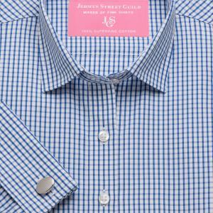 Blue Knightsbridge Check Poplin Women's Shirt Available in Six Styles