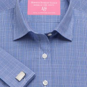 Navy Prince of Wales Check Poplin Women's Shirt Available in Six Styles