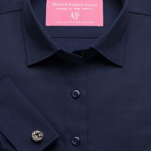 Navy Plain Sateen Women's Shirt Available in Six Styles
