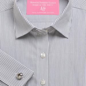 Charcoal Edinburgh Stripe Poplin Women's Shirt Available in Six Styles