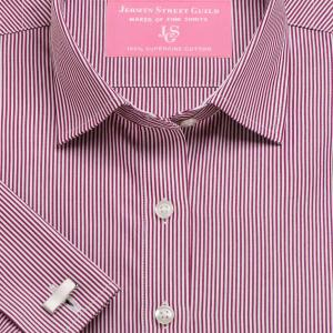 Burgundy French Bengal Stripe Poplin Women's Shirt Available in Six Styles