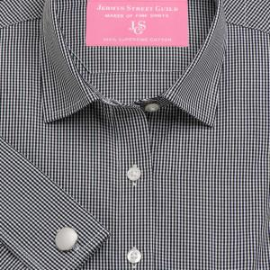 Black Gingham Check Poplin Women's Shirt Available in Six Styles