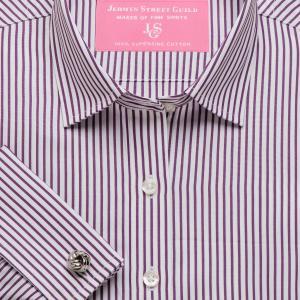 Purple Knightsbridge Stripe Poplin Women's Shirt Available in Six Styles
