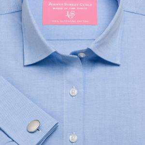 Blue Plain Pinpoint Oxford Women's Shirt Available in Six Styles