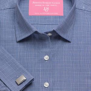 Navy Prince of Wales Check Twill Women's Shirt Available in Six Styles