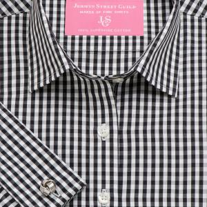 Black Bold Check Poplin Women's Shirt Available in Six Styles