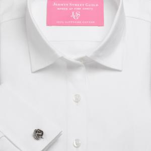 White Royal Herringbone Women's Shirt Available in Six Styles