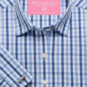 Blue & Navy Buckingham Check Poplin Women's Shirt Available in Six Styles