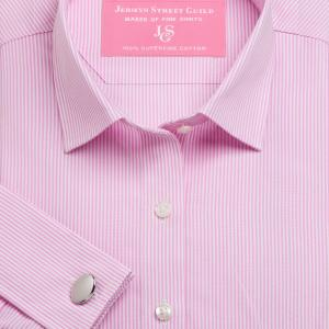 Pink French Bengal Stripe Poplin Women's Shirt Available in Six Styles