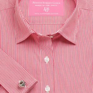 Red French Bengal Stripe Poplin Women's Shirt Available in Six Styles