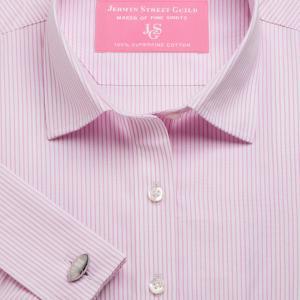 Pink Edinburgh Stripe Poplin Women's Shirt Available in Six Styles