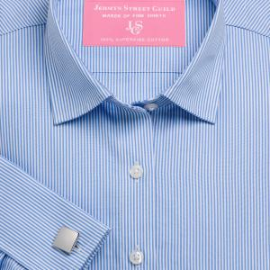 Sky French Bengal Stripe Poplin Women's Shirt Available in Six Styles