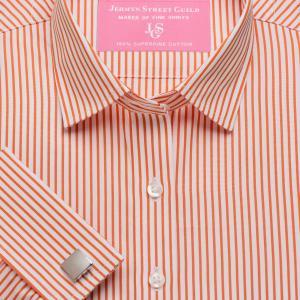 Orange Knightsbridge Stripe Poplin Women's Shirt Available in Six Styles