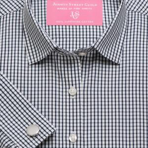 Black Knightsbridge Check Poplin Women's Shirt Available in Six Styles