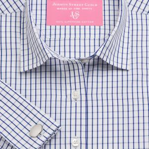 Navy Piccadilly Check Poplin Women's Shirt Available in Six Styles