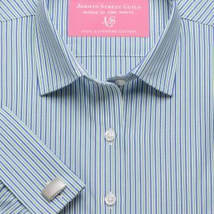 Green Trafalgar Stripe Poplin Women's Shirt Available in Six Styles