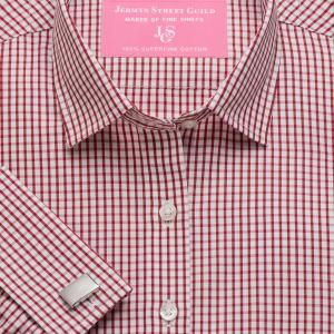 Red Knightsbridge Check Poplin Women's Shirt Available in Six Styles
