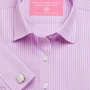 Lilac Mayfair Stripe Poplin Women's Shirt Available in Six Styles