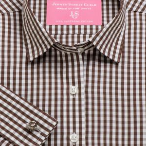 Brown Bold Check Poplin Women's Shirt Available in Six Styles
