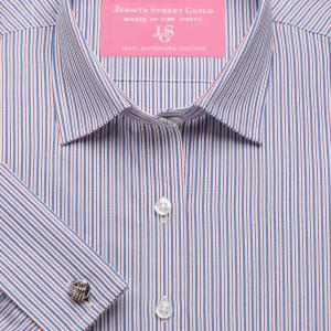 Red Trafalgar Stripe Poplin Women's Shirt Available in Six Styles