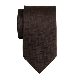 Chocolate Plain Herringbone Tie