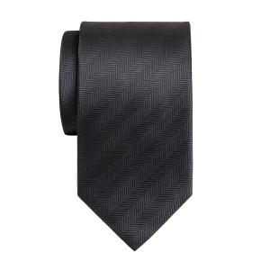 Charcoal Plain Herringbone Tie
