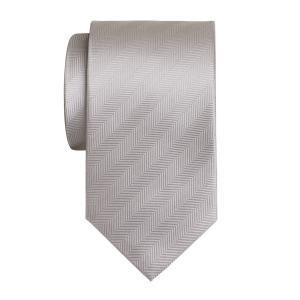 Silver Plain Herringbone Tie