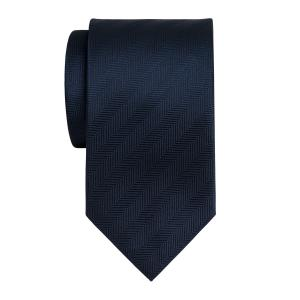 Navy Plain Herringbone Tie