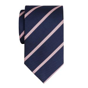 Pink on Navy Herringbone Stripe Tie