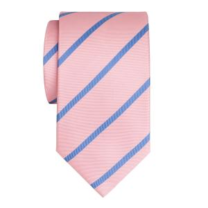 Sky on Pink Herringbone Stripe Tie