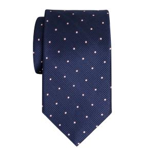 Pink on Navy Small Spot Tie