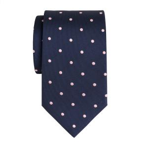 Pink on Navy Large Spot Tie
