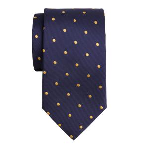 Gold on Navy Large Spot Tie