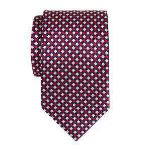 Navy Red White Dice Check Tie