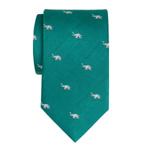White on Green Elephant Motif Tie