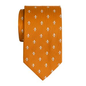 White on Orange Fleur-de-Lys Tie