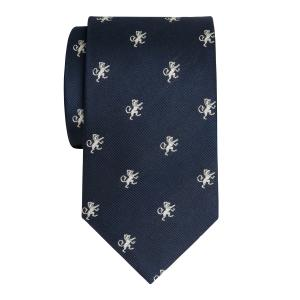 White on Navy Rampant Lion Motif Tie
