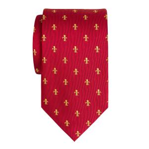 Gold on Red Fleur-de-Lys Tie