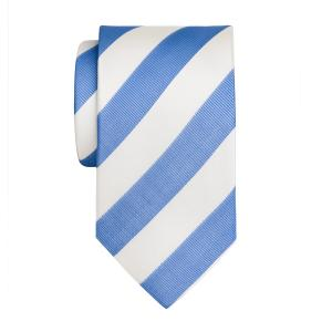 Sky & White Barber Stripe Tie