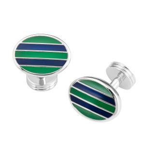 Green & Navy Stripe Oval Cufflink