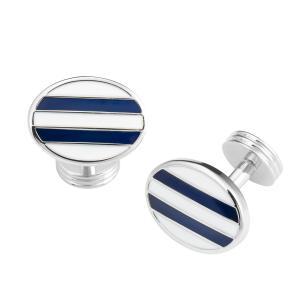 White & Navy Stripe Oval Cufflink