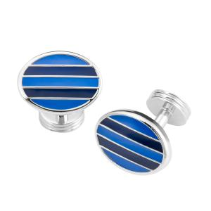 Blue & Navy Stripe Oval Cufflink
