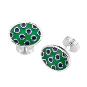 Green & Navy Spot Oval Cufflink