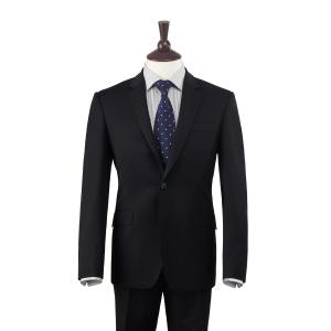 Black Plain Weave 110's Merino Men's Suit in Two Fits