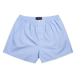 Sky Gingham Check Poplin Boxer Shorts